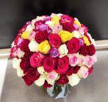 Buchet 101 trandafiri multicolori
