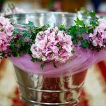 Decor cristelnita cu hortensie si wax flower