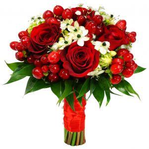 Buchet trandafiri ornitogalum si hypericum