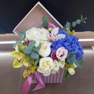 Cutie cu hortensie albastra