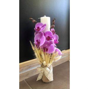 Lumanare botez cu orhidee roz