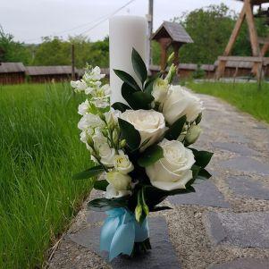 Lumanare botez cu trandafiri si matiola
