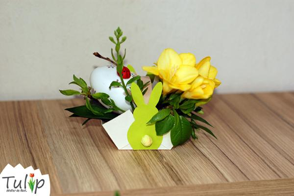 Coșulețe de flori pentru masa de Paște